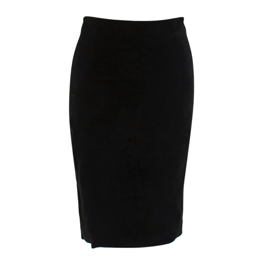 The Row Black Lamb Suede Knee-Length Pencil Skirt