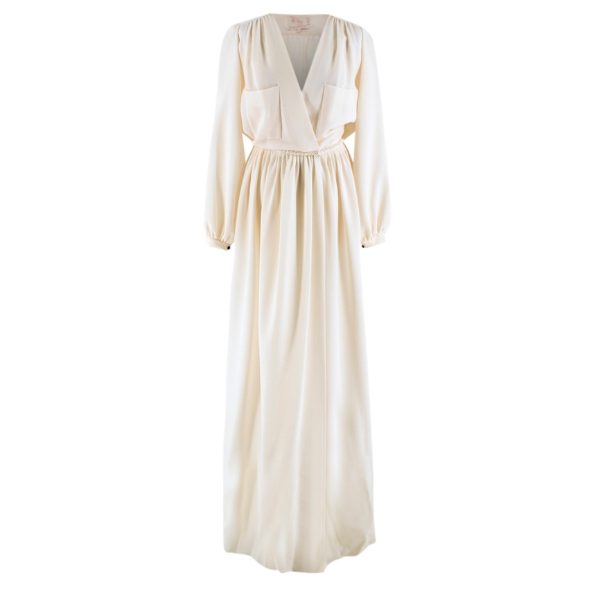 Roksanda Ilincic Ivory Crepe Wool Button Down Gown