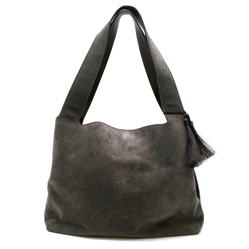 The Row Grey Suede Duplex Shoulder Bag