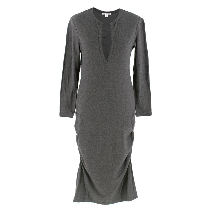 James Perse Grey V-Neck Cotton Blend Ruched Midi Dress
