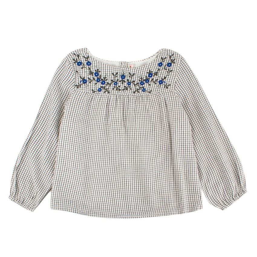 Bonpoint Girls Checked Embroidered Top