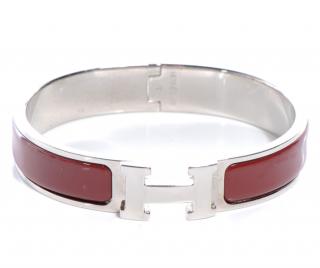 Hermes Clic H Narrow Burgundy Bracelet PHW