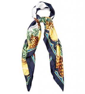 Dolce & Gabbana stripe & pineapple-print silk scarf