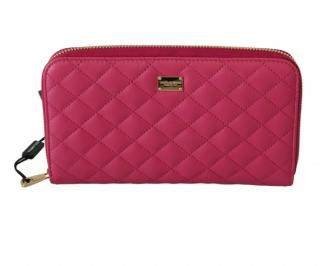 Dolce & Gabbana Pink Quilted Zip-Around Wallet