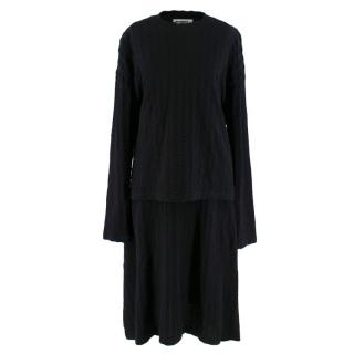 Jil Sander Black Wool Blend 2 Piece Skirt & Top