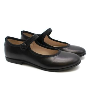 Gallucci Girls Black Leather Ballerina Shoes