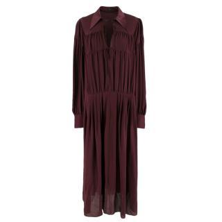 Joseph Burgundy Chiffon Pleated Shirt Maxi Dress