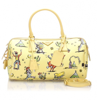 Prada Printed Canvas Leather Satchel
