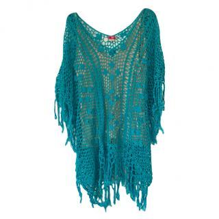 Anna Kusturova Turquoise Crochet Knit Cover-Up