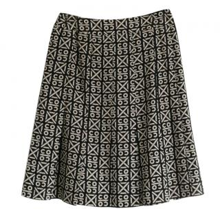 Chanel Black & White Coco Print Silk Skirt