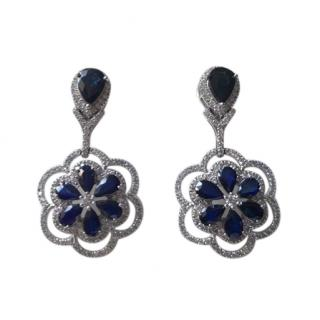 Bespoke Diamond & Sapphire Floral Drop Earrings