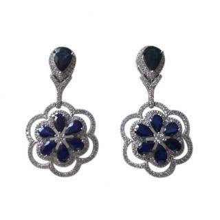 Bespoke Diamond & Sapphire Floral Drop Earrings