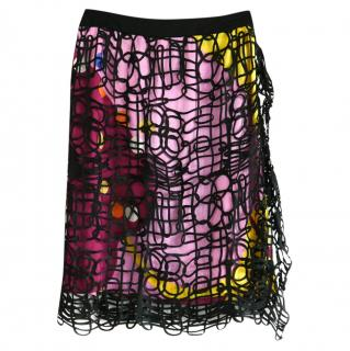 Chanel Floral Silk Skirt with Ribbon Mesh Overlay
