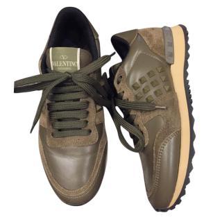 Valentino Garavani Khaki Camo Rockstud Sneakers
