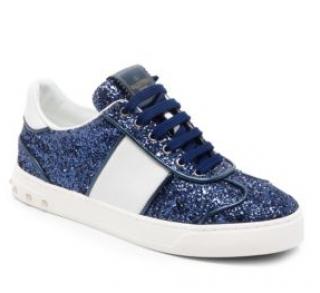 Valentino Garavani Blue Glitter Fly Crew Sneakers
