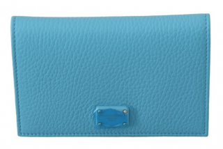 Dolce & Gabbana Blue Leather Bi-Fold Wallet