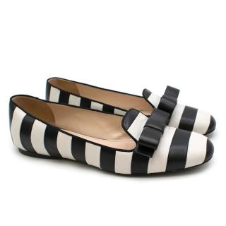 Prada Striped Leather Bow Detail Ballerina Flats