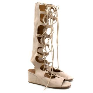 Chloe Nude Suede Lace Up Wedged Sandals