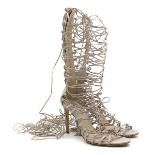 Roberto Cavalli Grey Strappy Lace-Up Leather Heels