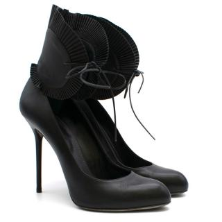 Sergio Rossi Black Heeled Pumps With Pleated Ankle