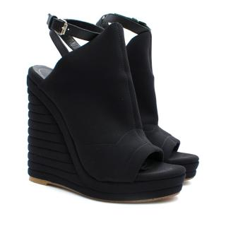 Balenciaga Black Glove Neoprene Wedge Sandals