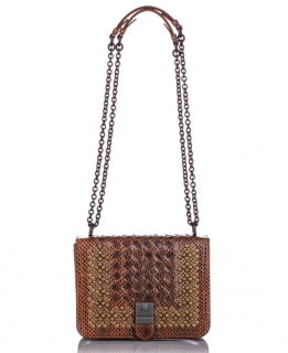 Bottega Veneta Studded Snakeskin Intrecciato Crossbody Bag