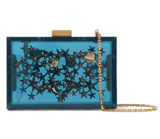 Valentino Blue Plexi Embellished Box Clutch On Chain