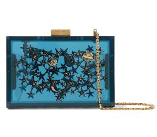 Valentino Blue Plexi Embellished Box Clutch On Chain
