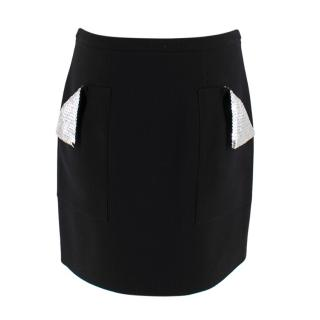 Christopher Kane Black Crepe Mini Skirt with Sequin Pockets