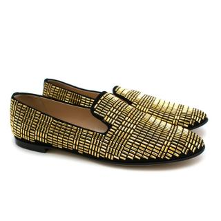 Giuseppe Zanotti Gold Studded Suede Loafers