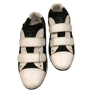 Chanel Black & White Velcro Leather Sneakers