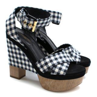 Louis Vuitton Navy Gingham Wedge Sandals