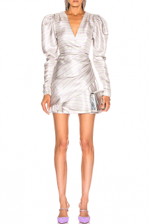 Rotate Birger Christensen Striped Puff Sleeve Mini Dress