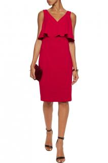 Badgley Mischka Red Fitted Dress with Ruffle Overlay