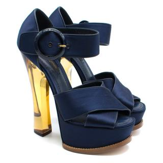 Louis Vuitton Navy Satin Florida Platform Sandals