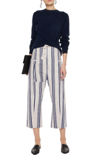 Joseph Black & White Linen Striped Cropped Ombria Trousers