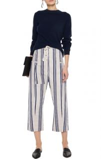 Joseph Black & White Linen Striped Cropped Ombria Trousers