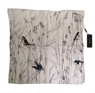 Dolce & Gabbana white bird print silk scarf