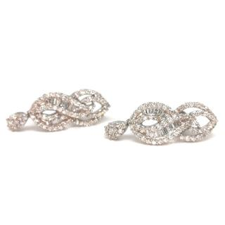 Bespoke Diamond Baguette Swirled Earrings