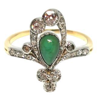 Bespoke Art Nouveau ring with Malachite and Diamonds.