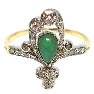 Bespoke Art Nouveau ring with Malachite and Diamonds.