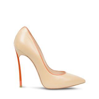 Casadei beige nappa and orange heel blade pumps