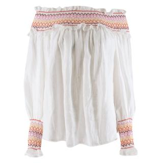 Zimmermann White Goldie Rainbow Smocking Top