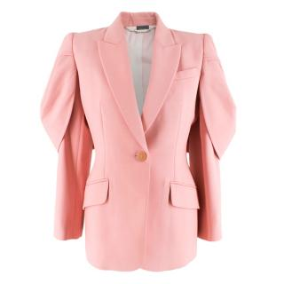 Alexander McQueen Pink Single-Breasted Puff Cape Sleeve Blazer