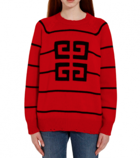 Givenchy Distressed Red & Black Striped Oversize Jumper