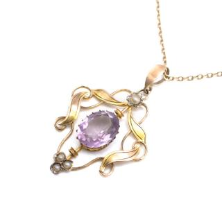 Bespoke Antique Amethyst & Pearl Necklace Necklace