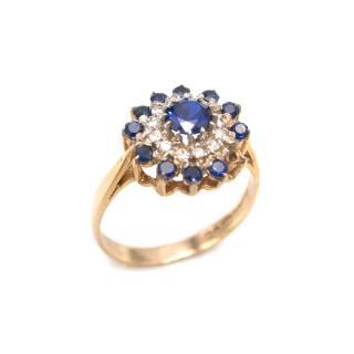Bespoke Sapphire & Diamond Cluster Gold Ring Ring
