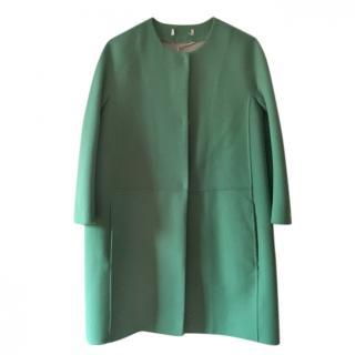 MaxMara green mid length wool and angora mix coat