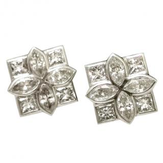 Bespoke French 2.8ct marquise cut white diamond floral set earrings