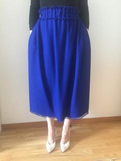 Celine blue silk blend raw edge midi skirt